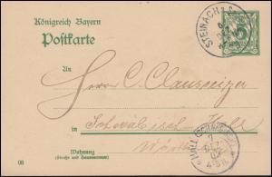 Bayern Postkarte P 66/01 von STEINACH/SAALE 6.12.1903 n. HALL (SCHWÄBISCH) 7.12.