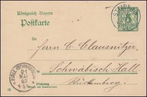 Bayern Postkarte P 66/01 von STEINRAIN 21.1.1903 nach HALL (SCHWÄBISCH) 21.5.03