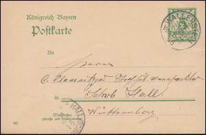 Bayern Postkarte P 66/03 von WALLERSTEIN 21.6.1905 nach HALL (SCHWÄBISCH) 21.6.