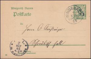 Bayern Postkarte P 66/03 von WINDSBACH 2.5.1905 nach HALL (SCHWÄBISCH) 2.5.
