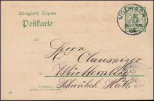 Bayern Postkarte P 66/03 von VOLKACH 14.6.1905 nach HALL (SCHWÄBISCH) 15.6.05