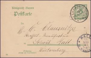 Bayern Postkarte P 66/03 von VILSHOFEN 10.5.1905 nach HALL in Württemberg 11.5.