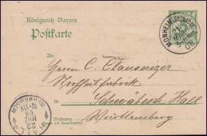 Bayern Postkarte P 66/05 von MONHEIM i. Schwaben 21.1.1908 n. HALL (SCHWÄBISCH)