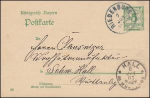 Bayern Postkarte P 66/01 von RIEDENBURG 7.6.1903 nach HALL in Württemberg 8.6.03