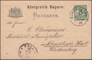 Bayern Postkarte P 44/03 von SCHWANDORF 15.11.1897 n. HALL in Württemberg 15.11.