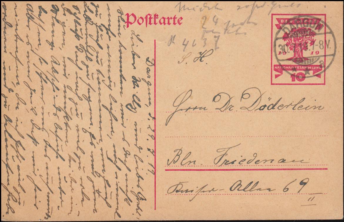 P 115 Nationalversammlung 10 Pf von DARGUN 30.7.1919 nach Berlin-Friedenau 0