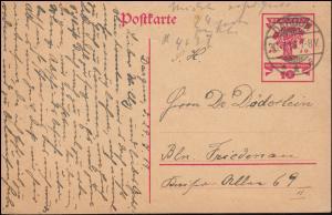 P 115 Nationalversammlung 10 Pf von DARGUN 30.7.1919 nach Berlin-Friedenau