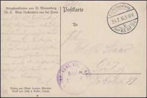 Feldpost BS INF.-REGT. 330, I.BATL. 24.2.1916, AK Gute Nachrichten von der Front
