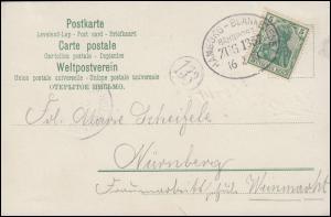 Bahnpost HAMBURG-BLANKENESE ZUG 16.2.03 auf AK Linienschiff Kaiser Wilhelm II.
