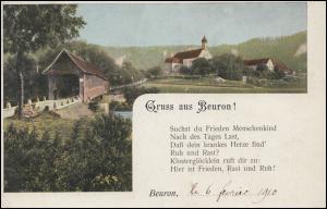 Ansichtskarte Gruss aus Beuron ..., mit Gedicht, BEURON 7.2.1910 nach Belgien