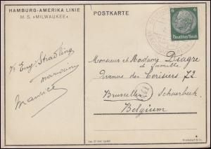 DEUTSCHE SCHIFFSPOST MS MILWAUKEE VERGNÜGUNGSREISEN 1937 auf passender AK