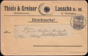 54a Germania REICHSPOST EF auf Drucksache LAUSCHA 26.2.1902 nach Kirchberg/Jagst