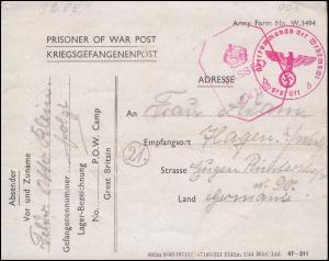 Kriegsgefangenenpost England PASSED P.W. 7163 nach Deutschland Zensur 11.9.1944