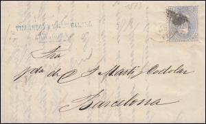 Spanien 122 König Amadeo als EF Brief SARAGOSSA 14.2.1873 nach BARCELOAN 18.2.73