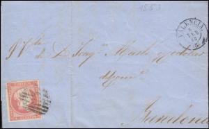 Spanien Königin Isabella 4 Cs. EF Brief VALENCIA 6.2.1858 nach BARCELONA 8.2.58