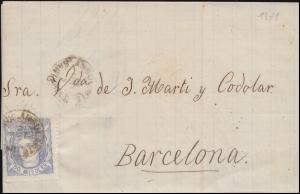Spanien 101 Freimarke 50 M. EF Brief AMBULANTE SANTANDER 9.8.1871 nach Barcelona