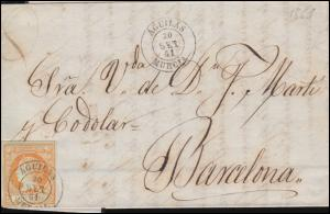Spanien 44 Königin Isabella auf Brief AGUILAS 30.9.1861 nach BARCELONA 3.10.61