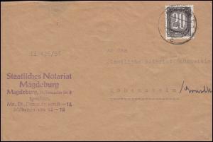 Dienst A ZKD 3 Ziffer 20 Pf. EF auf Brief Staatliches Notariat MAGDEBURG 11.5.56