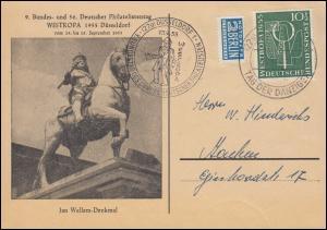 217 WESTROPA auf Karte Philatelistentag SSt DÜSSELDORF Tag der Danziger 18.9.55