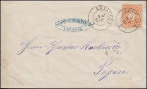Sachsen 15 Staatswapen 1/2 Ngr Brief LEIPZIG 5.10.1867 nach Pegau 6.10.