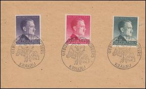 101-103 Geburtstag 1943 - Satz auf Blanko-FDC ESSt KRAKAU 20.4.1943