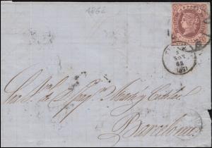 Spanien 50 Königin Isabella als EF auf Brief nach Barcelona 6.11.1862