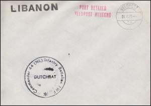 Niederländische Feldpost im Libanon 44.(NL) Infantry Battalion VELDPOST 16.10.79