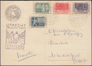 593-596 Reichstelegraphen-Satz auf FDC-Ansichtskarte mit ESSt UTRECHT 28.6.1952