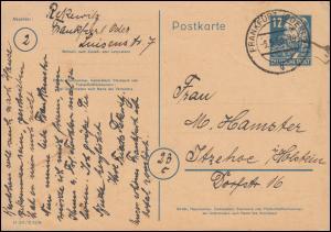 P 36a/03 Engels mit DV M 301 / C 4296 von FRANKFURT/ODER 5.5.50 nach Itzehoe