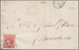 Spanien 56 Königin Isabella EF Brief ZARAGOZA 22.1.1862 nach BARCELONA 26.1.62