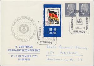 Privat-PK 11/42a Philatelistenverband 2. Verbandskonferenz SSt BERLIN 15.12.73