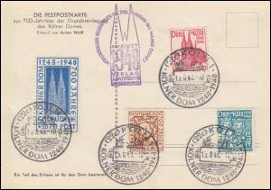 69-72 Kölner Dom - Satz auf Fest-AK 700 Jahre Kölner Dom ESSt 15.8.1948
