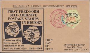 Sierra Leona 251 Weltausstellung New York 1964-1965 auf Schmuck-FDC 10.2.1964