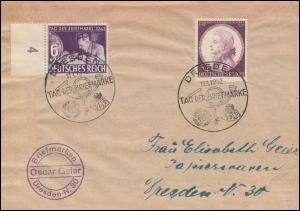811 Tag der Briefmarke Randstück auf FDC ESSt DRESDEN 11.1.1942 mit 810 Mozart