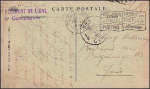 Französische Feldpost REGIMENT DE LIGNE auf AK BRÜSSEL Gericht 23.6.1919
