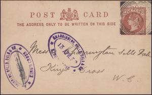 Postkarte Königin Viktoria 1/2 Penny LONDON 15.4.1892 Bestätigung Autoreparatur