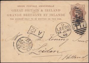 Postkarte P 16 Königin Viktoria 1 Penny DUB LEEDS 447 - 24.6.1880 nach LEIDEN