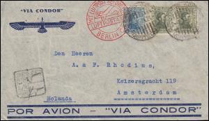 Briefstück Via Condor aus Uruguay 2.10.34 via LUFTPOSTAMT BERLIN nach Amsterdam