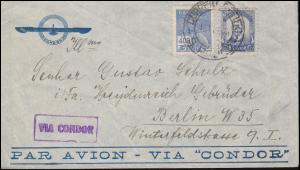 Brief mit violettem Stempel Via Condor aus Brasilien SAO PAULO 1938 nach Berlin