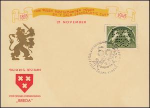 Schmuck-Umschlag 50 Jahre Briefmarkenverein Breda: 411 Durchlochung SSt 21.11.43