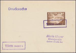 Landpost Altberun / Alt Berun (Oberschlesien), Gefälligkeits-O auf Drucksache