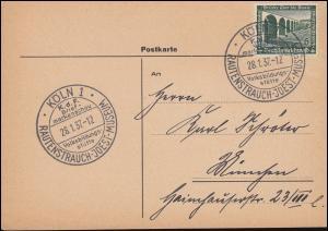 637 WHW auf Postkate mit SSt KÖLN Rautenstrauch-Joest-Museum 28.1.1937