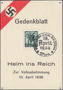 Gedenkblatt Heim ins Reich Zur Volksabstimmung 10. April 1938 SSt Wien 10.4.1938