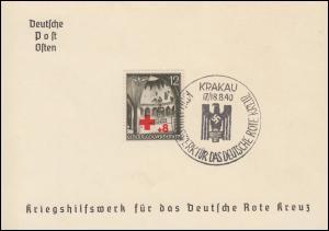 Generalgouvernement 52 Rotes Kreuz auf Spendenkarte mit ESSt KRAKAU 17/18.8.1940