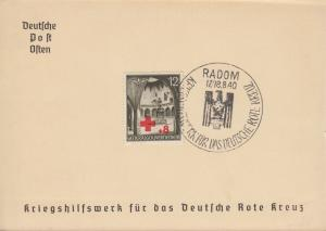 Generalgouvernement 52 Rotes Kreuz auf Spendenkarte mit ESSt RADOM 17/18.8.1940