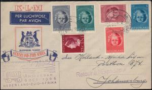 Flugpost KLM Niederlande - Südafrika Brief AMSTERDAM 8.10.46 nach Johannesburg