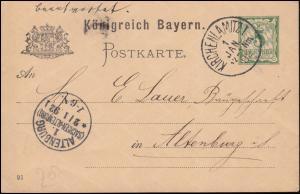 Bayern Postkarte P 38/10z von KIRCHENLAMITZ 1.1.92 nach ALTENBURG/SACHSEN 2.1.92