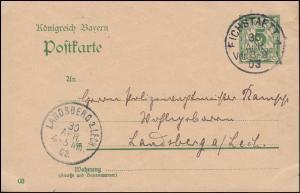 Bayern Postkarte P 60 von EICHSTAETT 30.4.1903 nach LANDSBERG am LECH 30.4.03