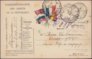 Französische Feldpost aus SEVRES 28.6.1917 zur BELGIE LEGERPOSTERIJ 2.7.1917