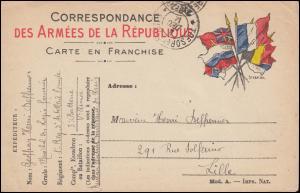 Französische Feldpost Artillerieeinheit TRESOR ET POSTES 4.12.1914 nach Lille